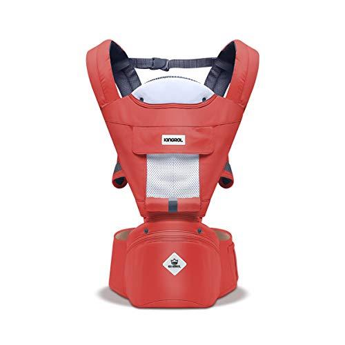 SONARIN Multifunktions Hipseat Babytrage, atmungsaktive Riemen, Ergonomische, 100% Baumwolle, Großraumlagerung, 11 tragende Positionen, sicher und komfortabel,Ideales Geschenk(Dunkelrot)