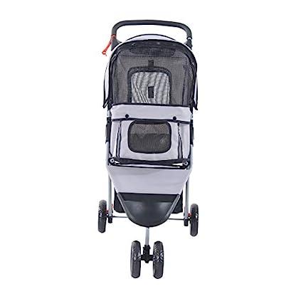 PawHut Pet Travel Stroller Cat Dog Pushchair Trolley Puppy Jogger Carrier Three Wheels (Gray) 8