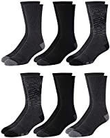 'New Balance Men\'s Mositure Wicking Cushioned Fashion Crew Socks (6 Pack), Black, Size Shoe Size: 6-12.5'