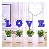 jinrun Bonsái Artificiales Simulación Potted Simulation Tree Outdoor Garden Home Office Decoración Simulación Árbol Mini Letra Bonsai Lover Conjunto de Regalo de 4 Plantas Artificiales decoración