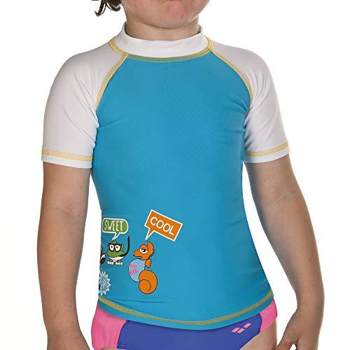 arena Mädchen Sonnenschutz Bade T-Shirt (Schnelltrocknend, UV-Schutz UPF 50+, Chlor-/Salzwasserbeständig), Turquoise-White (801), 92