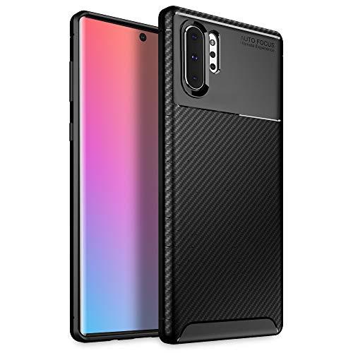 Olixar Samsung Galaxy Note 10 Plus 5G Hülle Carbonfaser - Zwei Schichten - Aktive Stoßdämpfung - Fallschutz Carbon Fibre - Induktives Laden Möglich - Schwarz