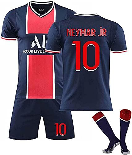 Jersey de fútbol Jersey Jersey Unisex 2021 Paris Football Shirt, 7 Mbappé # 10 Neymar Fútbol Camisa conmemorativa Kits Soft transpirable Ropa de entrenamiento para adultos Camisa de fútbol para niños