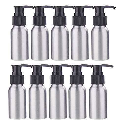 BENECREAT 10 Pack 50ml Botella de Aluminio Contenedor de Presión con de Negra Bomba Espumante para Jabón de Manos Limpiador Facial Crema