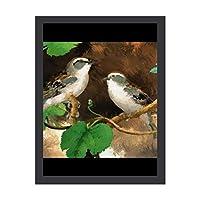 INOV すずめ 鳥 30x40cm インテリア 壁掛け 額入り ポスター アート アートパネル リビング 玄関 プレゼント アートフレーム おしゃれ