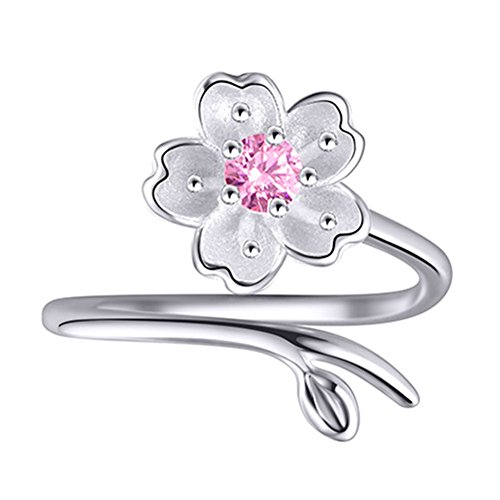 XCFS BEAUTY Anillo de plata de ley S925 CZ flor de cerezo púrpura amatista mujer banda abierta, ajustable