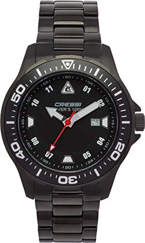 Cressi Manta Watch Reloj Submarino, Correa de Metal Negro, Uni