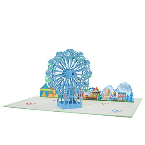 Favour Pop Up Glückwunschkarte. Ein filigranes Kunstwerk, das sich beim Öffnen als Riesenrad auf einem Jahrmarkt entfaltet. TB017