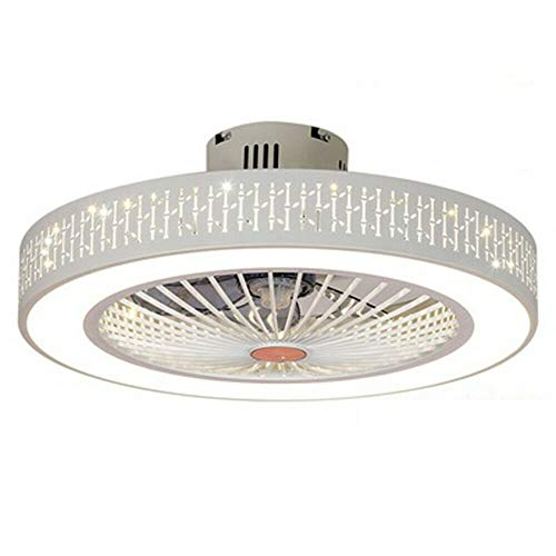 Ventilador de techo con iluminación LED regulable, lámpara de techo con mando a distancia, velocidad del viento ajustable, ventilador ultra silencioso, lámpara de techo para dormitorio o salón