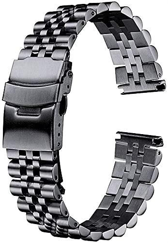 chenghuax Reloj Correa, Reloj de Acero Inoxidable Correa de Pulsera 20 mm 22 mm 24 mm Mujeres Hombres Silver Sólido Metal Reloj Banda Correa Accesorios Pulsera (Color : 20mm, Size : Black)