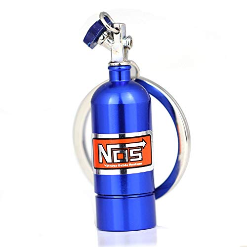 NOS Bottle Blue Metal Keychain with Mini Light & Key Ring Nitrous Oxide