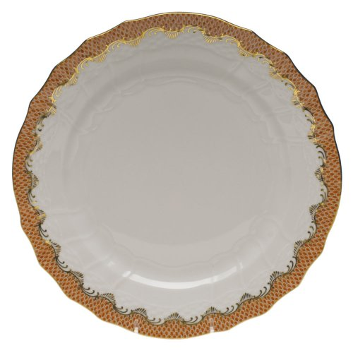 Herend Fish Scale Rust Porcelain Service Plate