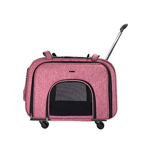 Nataly Osmann ペットキャリーカート ペット用 犬 猫 折りたたみ キャリーバッグ 四輪 多目的キャリーリュック バランスで快適 (ピンク)