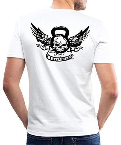 Kettlebell Skull Wings Kugelhantel Totenkopf Männer Slim Fit T-Shirt, XL, Weiß