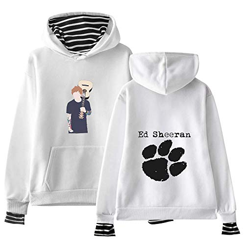 Ed Sheeran Pullover Pullover Unisex Langarm Vogue 2-In-1 Tops for Herren und Damen T-Shirt Ed Sheeran Kapuzenpullover (Color : White01, Size : Height-170cm(Tag M))