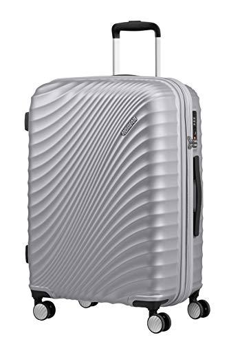 American Tourister Jetglam - Spinner M Espandibile Valigia.67 cm, 77.5 Litri, Argento (Metallic Silver)