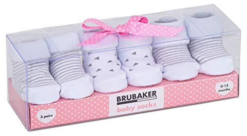 BRUBAKER 3 paia di scarpette per neonati da 0-12 mesi - scarpette unisex design strisce e triangoli