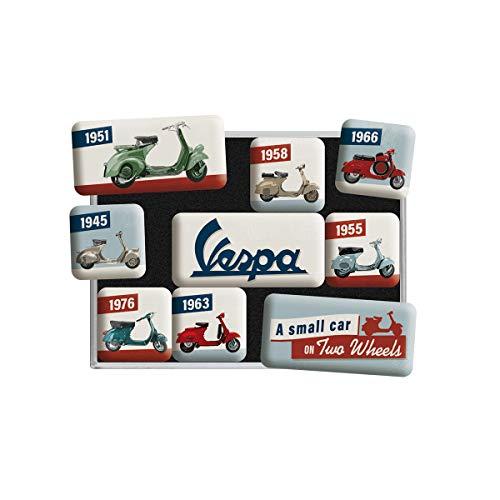 Nostalgic-Art - Set di 9 calamite per frigorifero retrò Vespa – Modello Chart – Idea regalo per gli appassionati di scooter, set di magneti per lavagna magnetica, design vintage