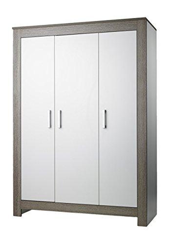 Geuther - 3-teiliger Kleiderschrank Marlene, made in Germany, 3-türig, 2 Kleiderstangen, 4 Einlegeböden, wenge-weiß