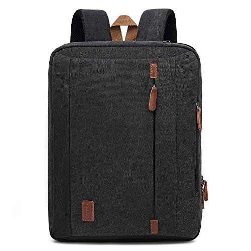CoolBELL 17,3 Zoll umwandelbar Laptop Tasche/Rucksack Messenger Bag Canvas Umhängetasche Business Backpack Arbeitastasche Mehrzweck Aktentasche Notebooktasche für Laptop/MacBook/Herren(Schwarz)