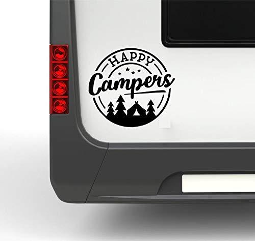Pegatina Promotion Wohnmobil Wohnwagen Aufkleber Stempel Happy Campers Gr.S ca 25cm mit Bäumen Sternen & Zelt WOMI WOWA Camping Van Sti
