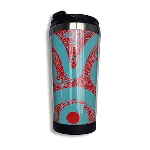 Doinh Kaffeetasse, Edelstahl, Vakuum-isoliert, Mononoke-Maske, auslaufsicher, für unterwegs, 350 ml
