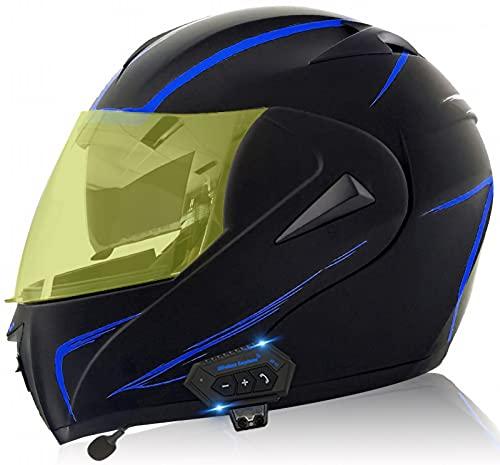 YLXD Casco De Moto con Doble Visera, Certificación ECE Adultos Modular Integral Casco Moto con Buetooth para Ciclomotor Motocicleta Y Scooter Mujer Hombre E,S