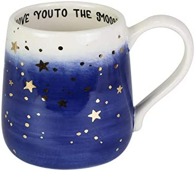 Enesco Our Name is Mud Gold Stars Love You to the Moon Coffee Mug 16 Ounce Multicolor product image