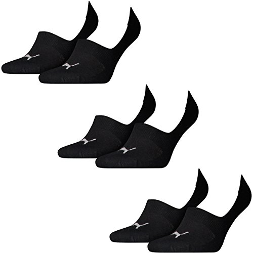 6 Paar Puma Socken Footie Sportsocken Invisible Gr. 35 - 46 Unisex, Farbe:200 - black, Socken und Strümpfe:39-42