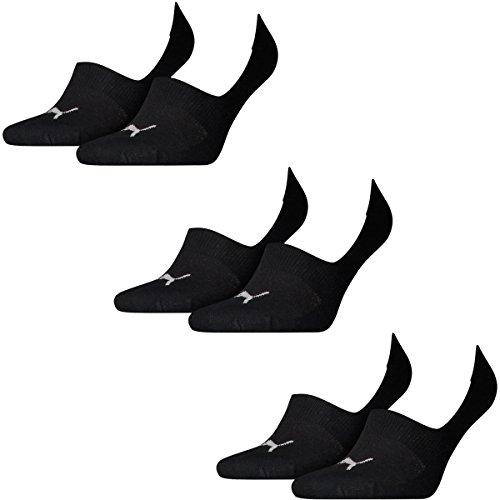 6 Paar Puma Socken Footie Sportsocken Invisible Gr. 35 - 46 Unisex, Farbe:200 - black, Socken & Strümpfe:43-46