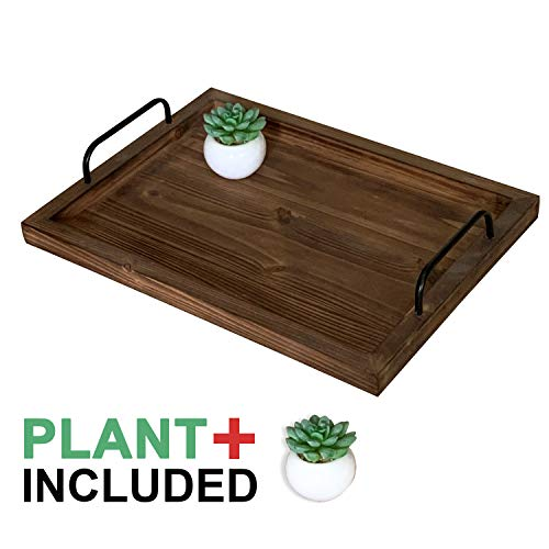 Decorative Eco-Friendly Bamboo Wood Serving Tray - with Metal Handles, Includes Small Artificial Plant, Perfect Ottoman, Coffee Table, Breakfast, or Lap Tray, Home Decor, Food Serving Tray