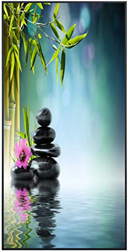 Ecowelle Infrarotheizung mit Bild | 750 Watt | 60x120 cm | Infrarot Heizung| | Made in Germany| k 55 Bambus mit Steine