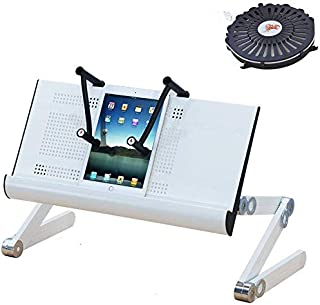 FJFZDZ Laptop Desk with Fan,Adjustable Height Laptop Desk Stand , with Mouse Stand, Laptop Desk for Bed and Couch,Portable...
