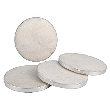 Thirstystone NMCH001 Old Hollywood Round White Marble Coasters with Silver Tone Edge (Set of 4)