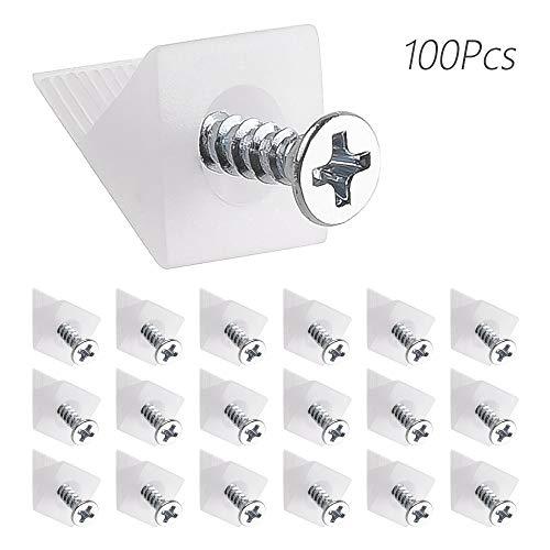 LUCY WEI 100 PCS Rückwandverbinder Rückwandhalter Schubladenböden Keil Regal Stabilisator für Durchhängende Schubladen Böden Keil+ Schrauben(Weiß)