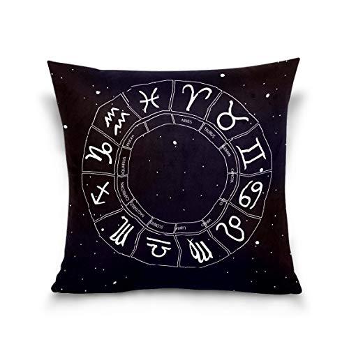 N/Q 1PCS Throw Pillow Cover Soft Pillowcase Cushion for Bed Sofa Couch Decoration 16x16,18x18,20x20Inch Zodiac Wheel Space