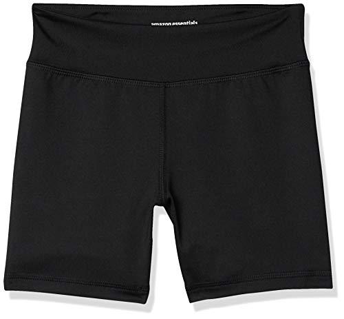 Amazon Essentials - Pantalones cortos deportivos elásticos para niña, Negro, US 4T (EU 104–110)