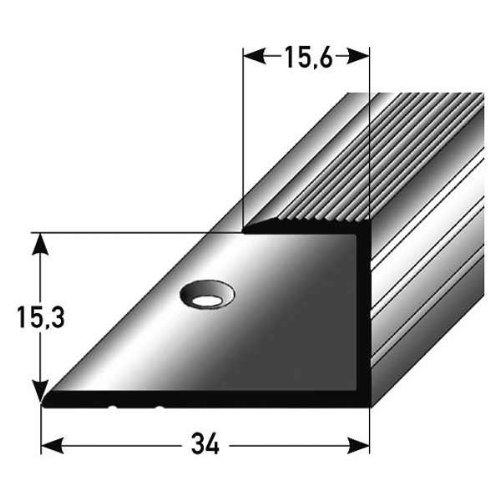 autoadh/ésif Profil/é de bordure // Seuil darr/êt // seuil d/'adaptation pour le stratifi/é couleur: argent Aluminium anodis/é 15,5 mm de haut