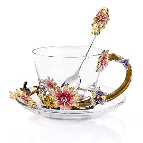 Luxury Coffee Cups Glass Coffee Mugs Heat-Resistant Crystal Mugs 8(oz) with Spoon and Dish Handmade Coffee Mugs Lead Free Creative Gift Business Gifts Birthday Gift
