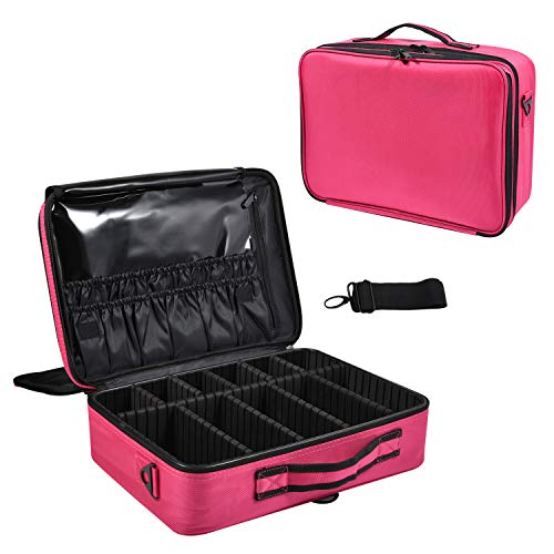 Joligrace Large Oxford Fabric Professional Makeup Bag with Removable Back Strap Cosmetic Case Beauty Box Hairdressing Tools Organiser Storage Box, Hot Pink