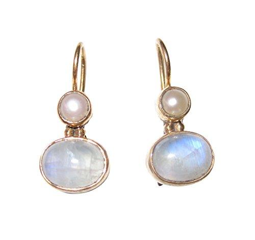 Pequeños pendientes de piedra de luna azul claro, perlas de agua dulce auténticas, con cierre, plata chapada en oro, hecho a mano, retro, vintage, único, regalo sencillo