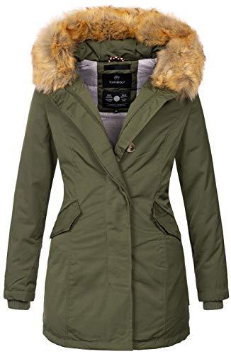 Marikoo Damen Winter Jacke Parka Mantel Winterjacke warm gefüttert B362 [B362-Karmaa-Grün-Gr.L]