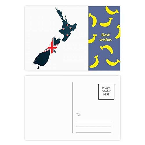 The Flag Island Country Map Nieuw-Zeeland Banaan Postkaart Set Thanks Card Mailing Side 20 stks