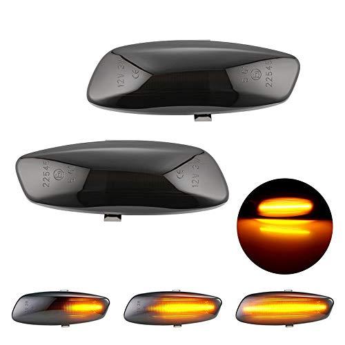 RASHION Par de Luces LED Intermitentes, indicador de dirección para P-eugeot 207 308 3008 5008 C-itroen C3 C4 C5