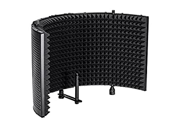Monoprice Microphone Isolation Shield - Black - Foldable with 3/8in Mic Threaded Mount High Density Absorbing Foam Front and Vented Metal Back Plate