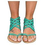 Aniywn Summer Sandals for Women, Clip Toe Flat Sandals Slip On Flip Flops Thongs T-Strap Bohemia Beach Slippers Shoes Green