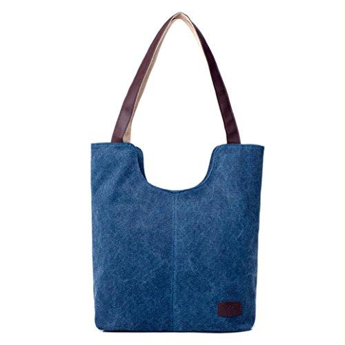 Bolsos de Hombro Mujer ESAILQ Bandolera Lona Shoppers de Grande Azul para Niña K