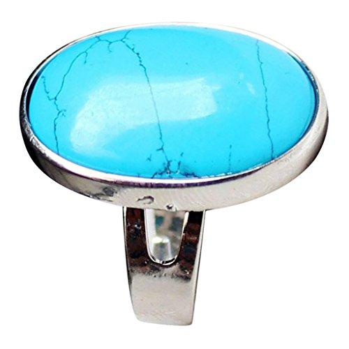 milageto Banda Ajustable Clásica del Anillo De Bodas De La Piedra Preciosa del Cristal Natural para Los Hombres De Las Mujeres - Azul