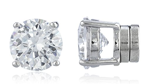Silvertone Magnetic Earrings with Clear Cz Round - 4mm to 12mm (8 Millimeters) (E-1525)