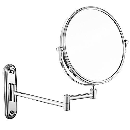 LUYIYI Espejo de Maquillaje de Aumento 10x/1x, Espejo de baño de Doble Cara Giratorio de 360 Grados para Montar en la Pared, Superficie con Acabado Cromado